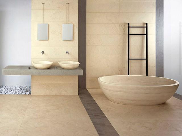 ambientazione moderna bagno pavimento e rivestimento in marmo